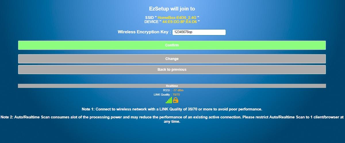 valgt WIFI og kode og Confirm 4
