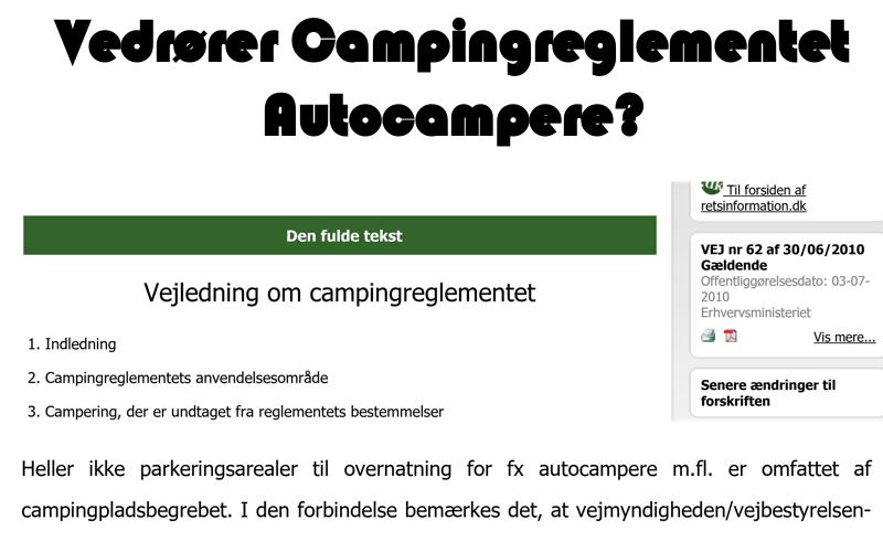 Campingreglementet og Autocampere